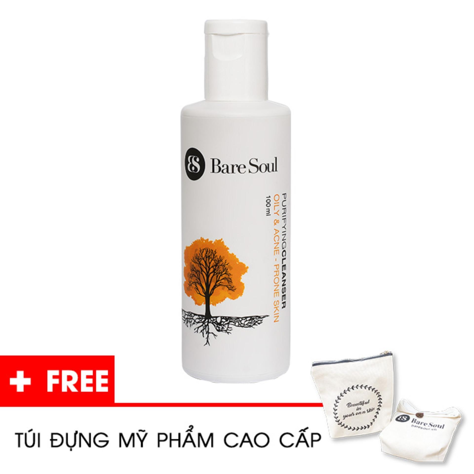 Sữa rửa mặt thanh lọc BareSoul – Da dầu và trị mụn 100ml  – Hàng chính hãng – Purifying Cleanser Oily & Acne Prone Skin + Tặng túi mỹ phẩm cao cấp tốt nhất