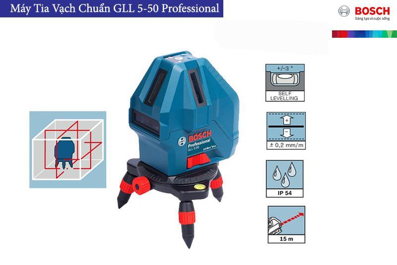 Máy cân bằng tia Laser độ sáng cao 4 tia dọc 1 tia ngang Bosch GLL 5-50X