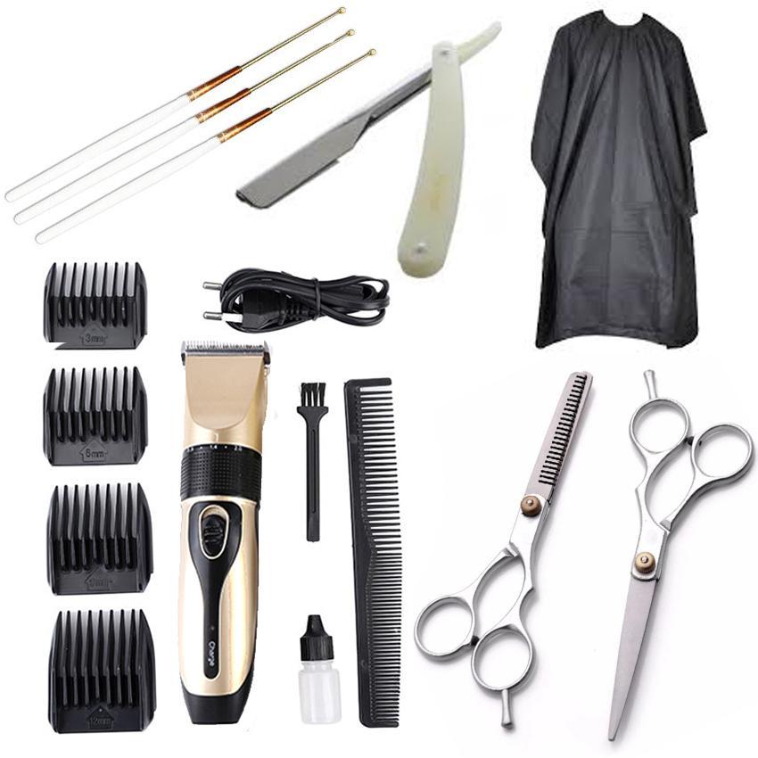 Bộ Tông Đơ Cắt Tóc BoJia kèm 2 kéo cắt kéo tỉa tặng áo choàng,dao cạo và lấy ráy tai chính hãng