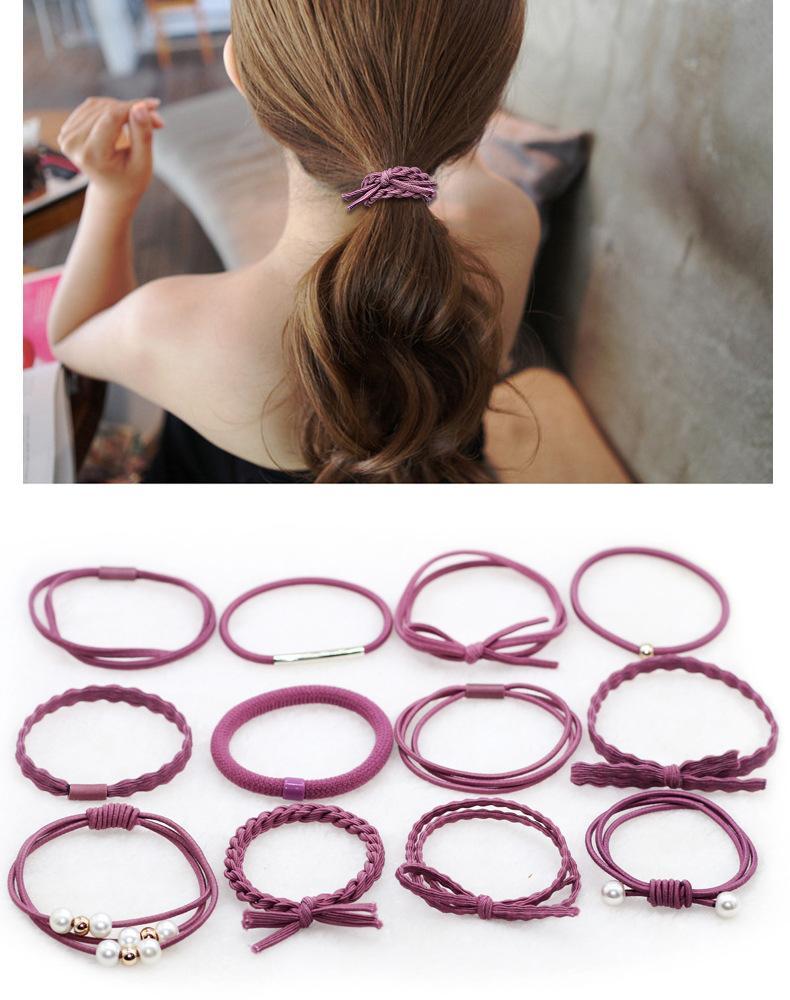 Hình ảnh Set 12 dây buộc tóc mềm Hàn Quốc kèm hộp