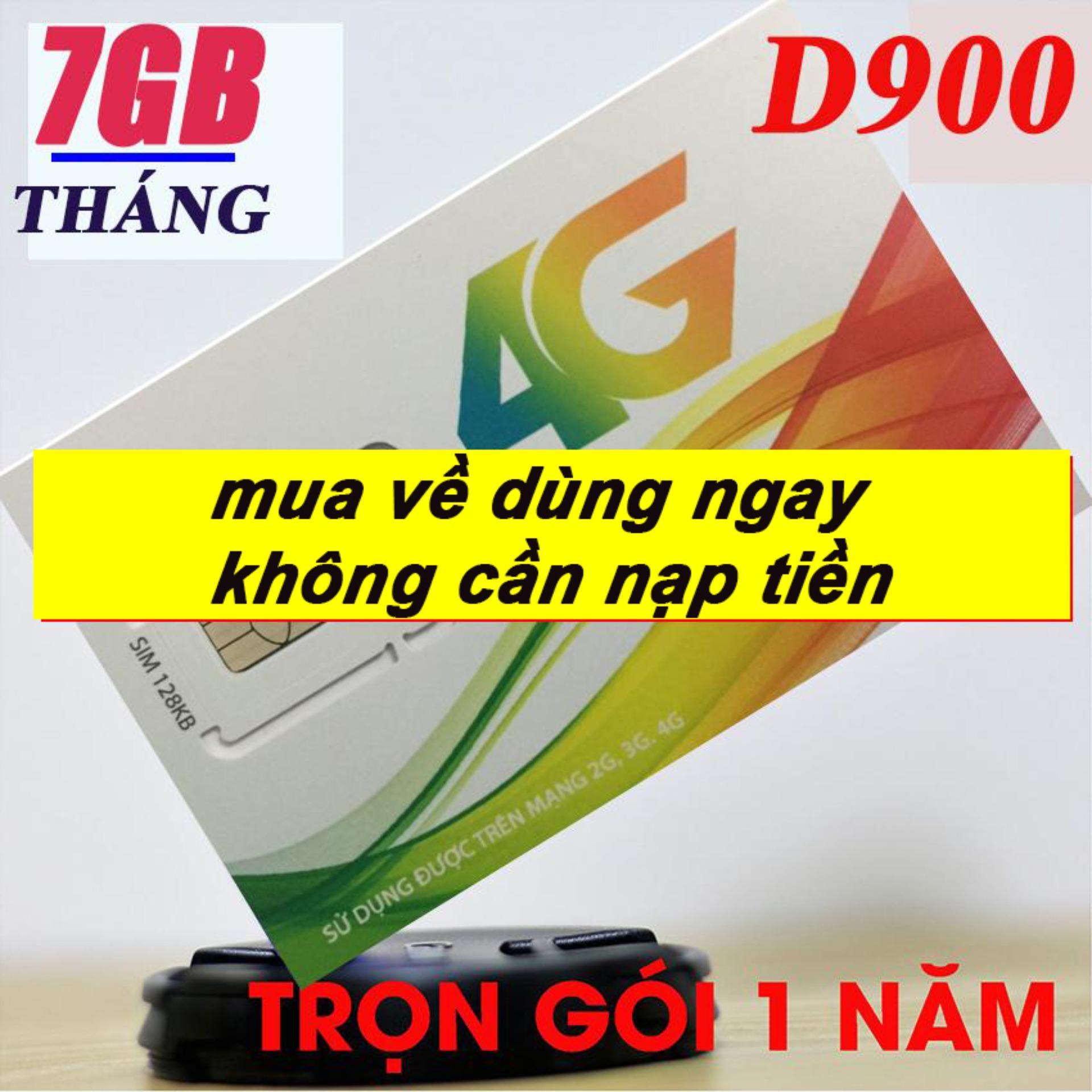 Sim 4G Viettel miễn phí 12 tháng sử dụng D900  (7GB/THÁNG) - không mất tiền gia hạn.Mua về dùng ngay.