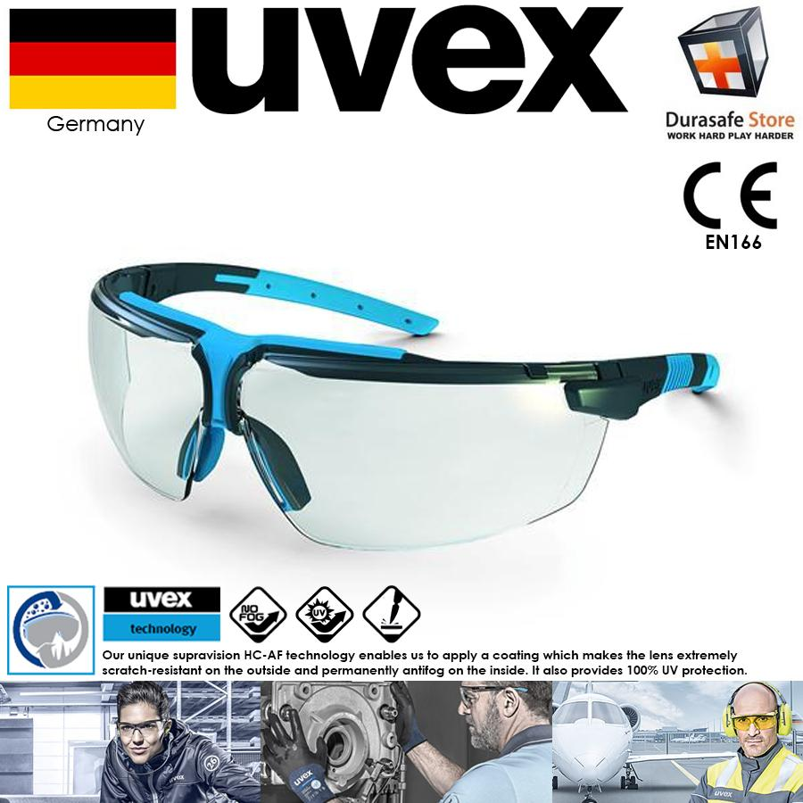KÍNH UVEX 9190275 I-3 Safety Glasses Blue Frame Clear Supravision HC-AF Len