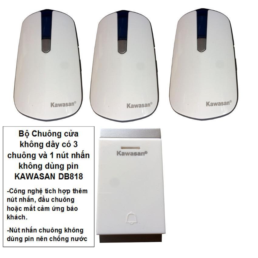Bộ chuông cửa 3 CHUÔNG không dây có nút nhấn chống nước và không dùng pin KAWASAN DB818