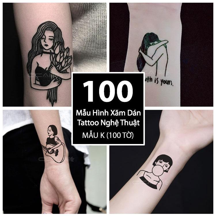 Hình ảnh Bộ 100 Mẫu Hình Xăm Dán, Hình Xăm Tattoo Cao Cấp Combo 100 Tờ - Mẫu K