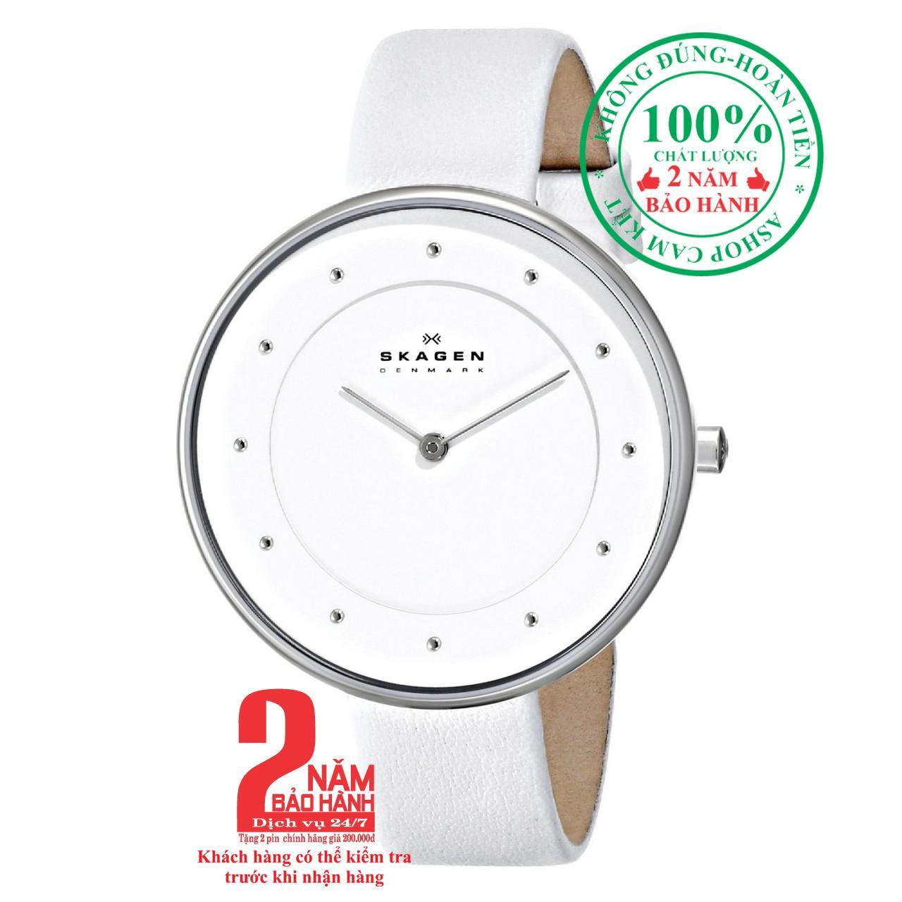 Nơi bán Đồng hồ nữ Skagen SKW2136, màu thép trắng(Stainless Steel), mặt trắng (White), dây da thật cao cấp, size 38mm - Model: SKW2136