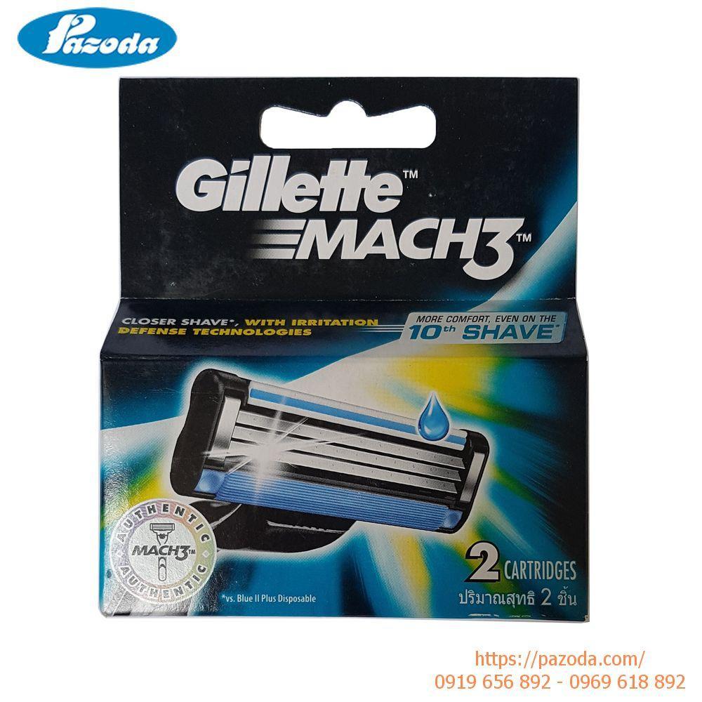 Hộp 2 lưỡi dao cạo râu Gillette Mach 3