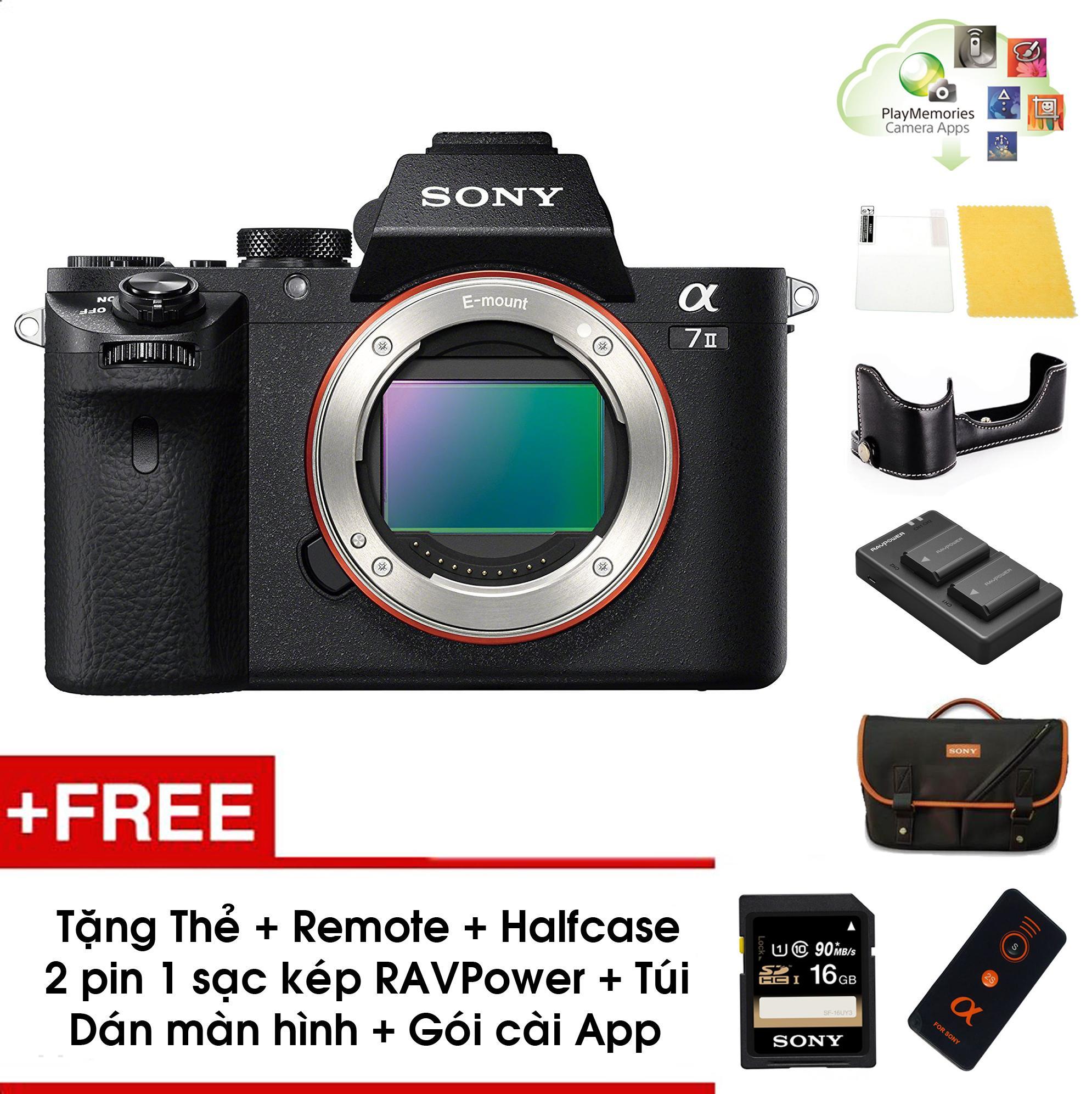 Máy ảnh Sony A7 mark II (Body) - Màu đen - Tặng thẻ nhớ 16GB + Túi + Combo 2 pin 1 sạc kép RAVPower + Bao halfcase + Gói appcol + Remote + Dán màn hình - Chính hãng SonyVN
