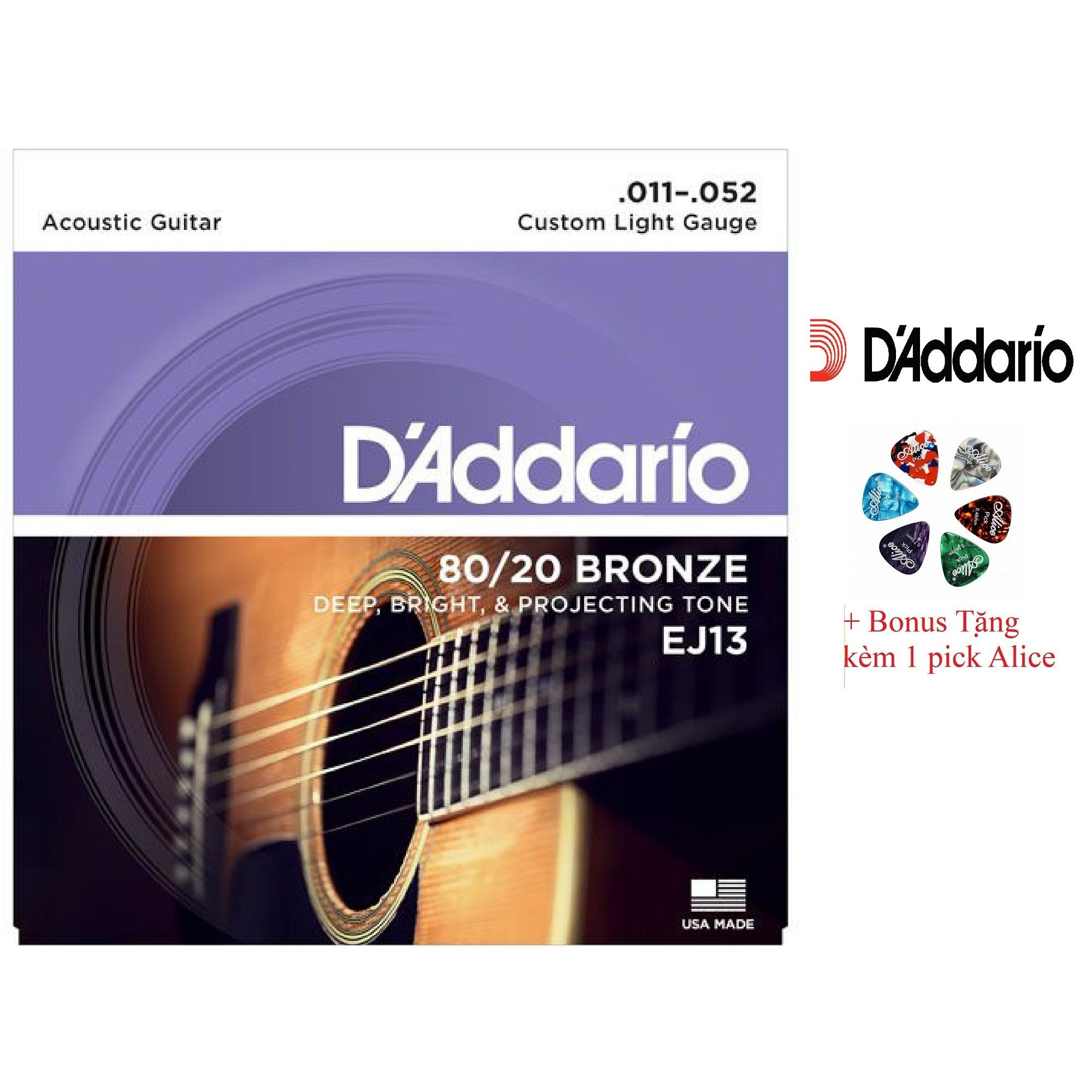 Bán Bộ Hộp 6 Day Đan Guitar Acoustic D Addario Ej13 Cao Cấp Pick Alice Cỡ 11 D Addadrio Có Thương Hiệu