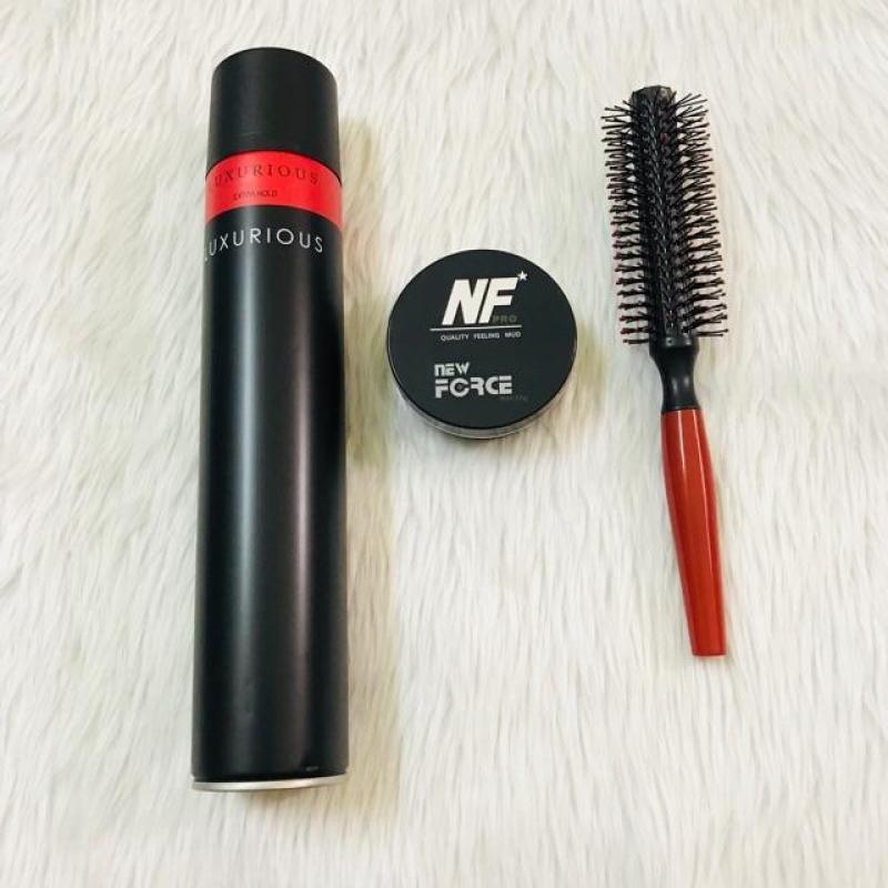 Combo sáp vuốt tóc New Force + gôm Luxurious + lược tròn giá rẻ