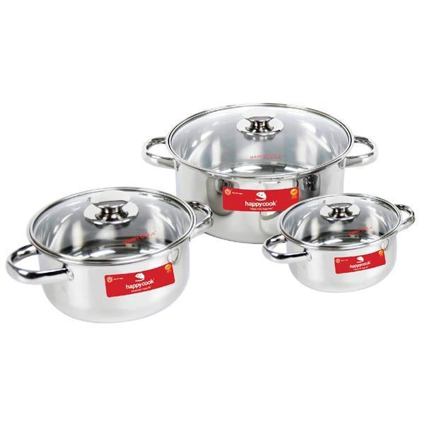 Bộ 3 nồi inox nắp kính Happy Cook EL-06ICG