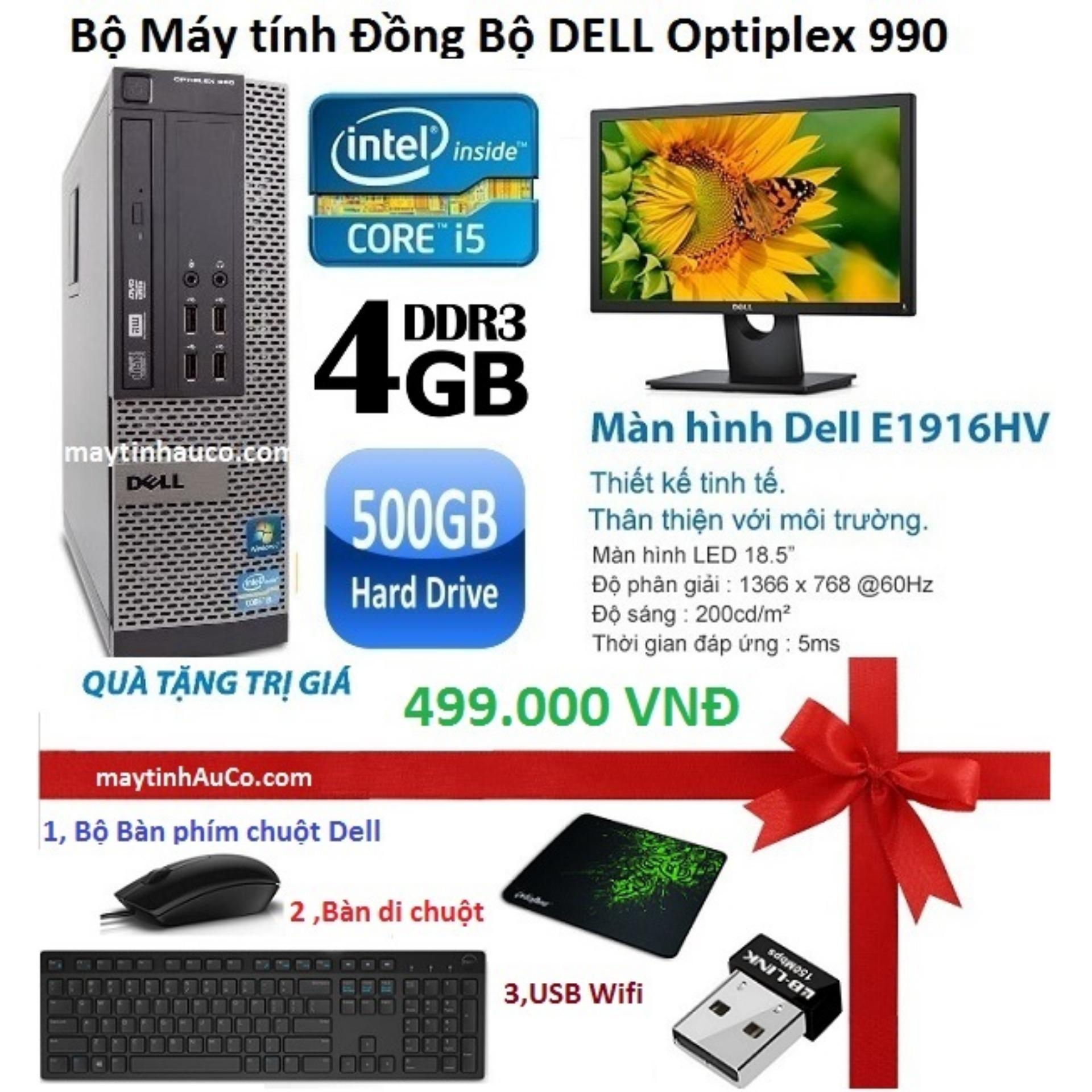Bộ Máy tính Đồng Bộ DELL  Dell Optiplex 990 (Core i5 2400 / 4G / 500G ) , Màn hình Dell 18.5 inch Wide LED ,Tặng bàn phím chuột , USB Wifi , Bàn di chuột - Hàng Nhập Khẩu