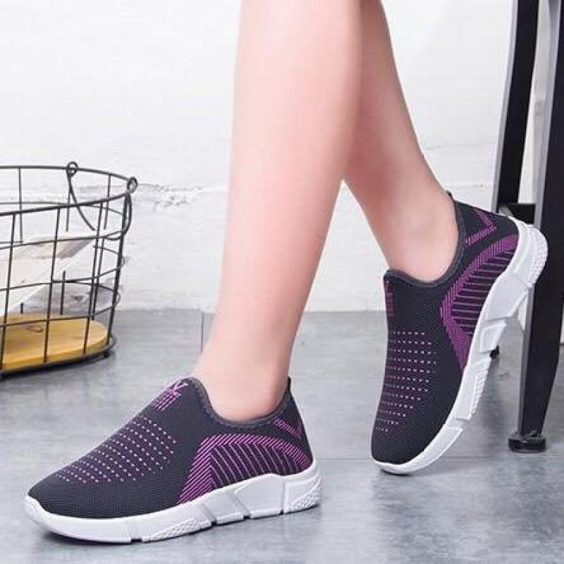 Giày lười nữ , giày ship on phong cách êm chân thoáng khí ghi, tím, đỏ, đen - chữ V - Size 36 đến 40 - (Full size Full box) V126
