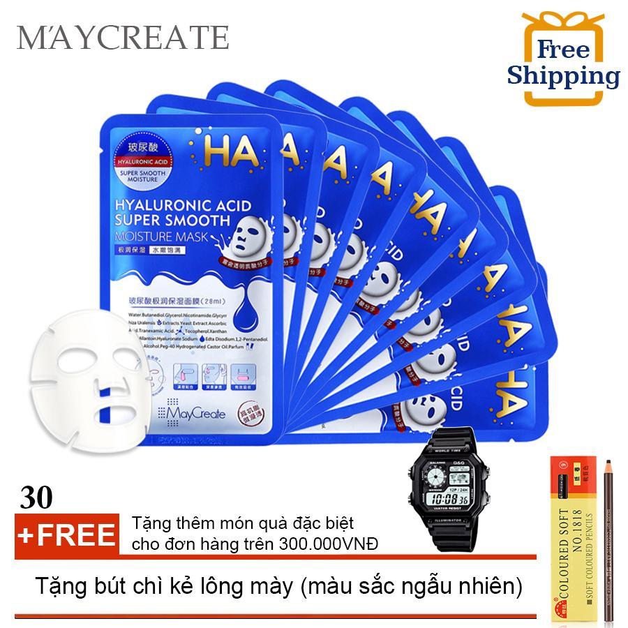 Bộ 30 Mặt nạ HA MayCreate – Hyaluronic Acid Super Smooth Mask + Tặng bút chì kẻ lông mày ( Đơn hàng mỹ phẩm trên 300k tặng thêm 1 đồng hồ thể thao như quảng cáo ) cao cấp