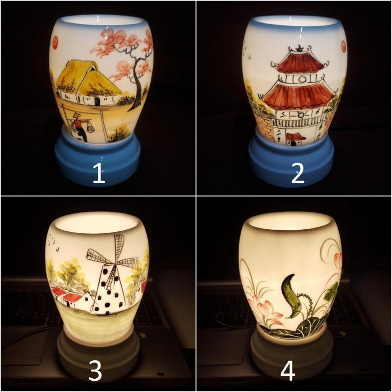 Đèn xông tinh dầu sứ Bát Tràng dáng Trứng cỡ TO 11 x 17cm / Đuổi muỗi Diệt muỗi Đèn trang trí