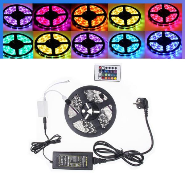 Đèn led dây siêu sáng 5m 12V -5050RGB + Nguồn + Khiển