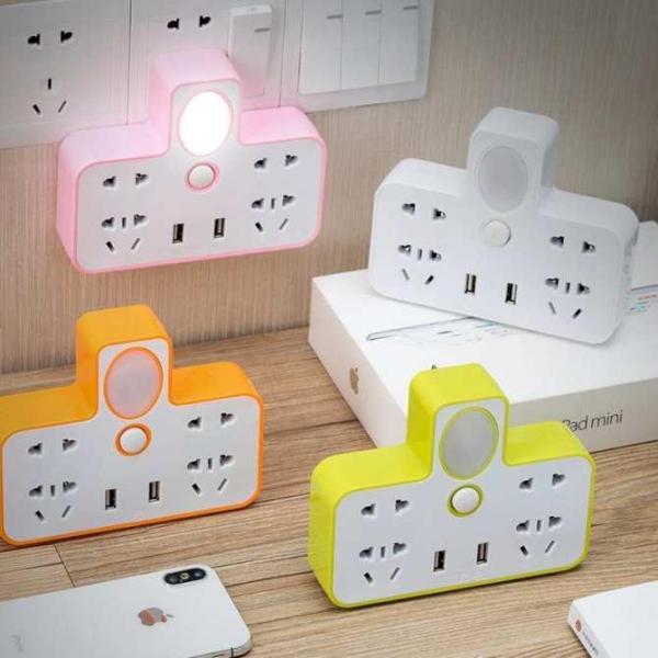 Ổ điện chia 2 cổng USB kiêm đèn ngủ Ổ CẮM ĐIỆN THÔNG MINH KIÊM ĐÈN NGỦ LED & 2 CỔNG USB CÓ CÔNG TẮC Tmark giá rẻ