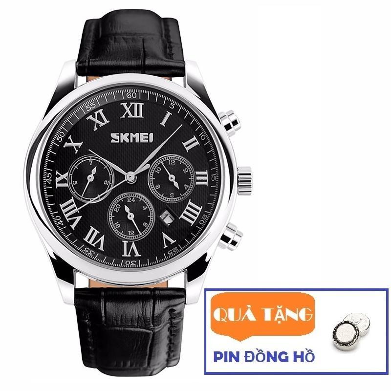 Đồng hồ nam dây da Skmei 9078 6 kim lịch lãm (Tặng pin đồng hồ) bán chạy