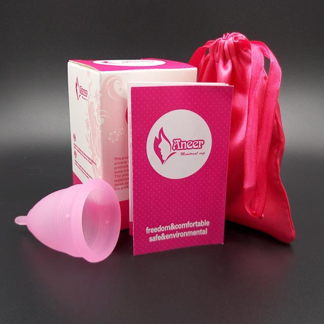 Cốc nguyệt san silicon y tế Aneer dùng thay thế băng vệ sinh, màu hồng, size L nhập khẩu