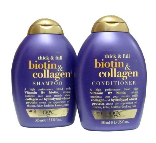 Combo bộ dầu gội và xả chống rụng và kích thích mọc tóc Thick & FullOrganix Biotin &Collagen 385mlx2