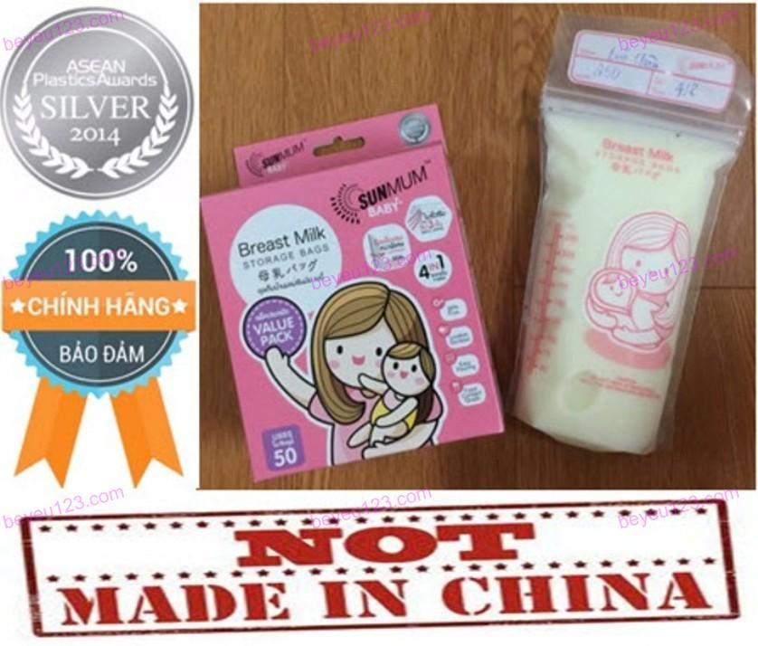 (Mẫu mới 2018) Bộ 50 túi trữ sữa mẹ không có BPA 250ml SUNMUM (Thái Lan)