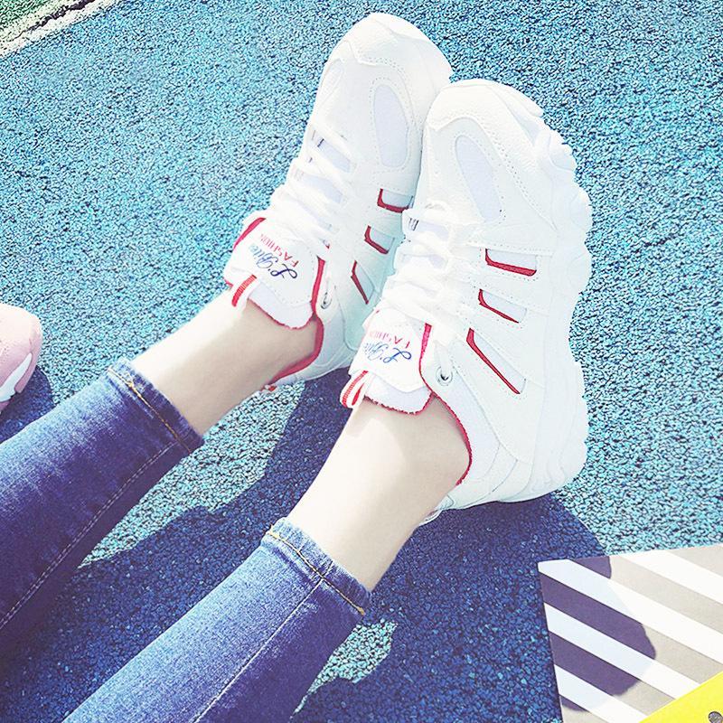 Giay Sneaker Thể Thao Nữ Mẫu Mới Sodoha Shop Sn56199 Trắng Phối Đỏ Mới Nhất