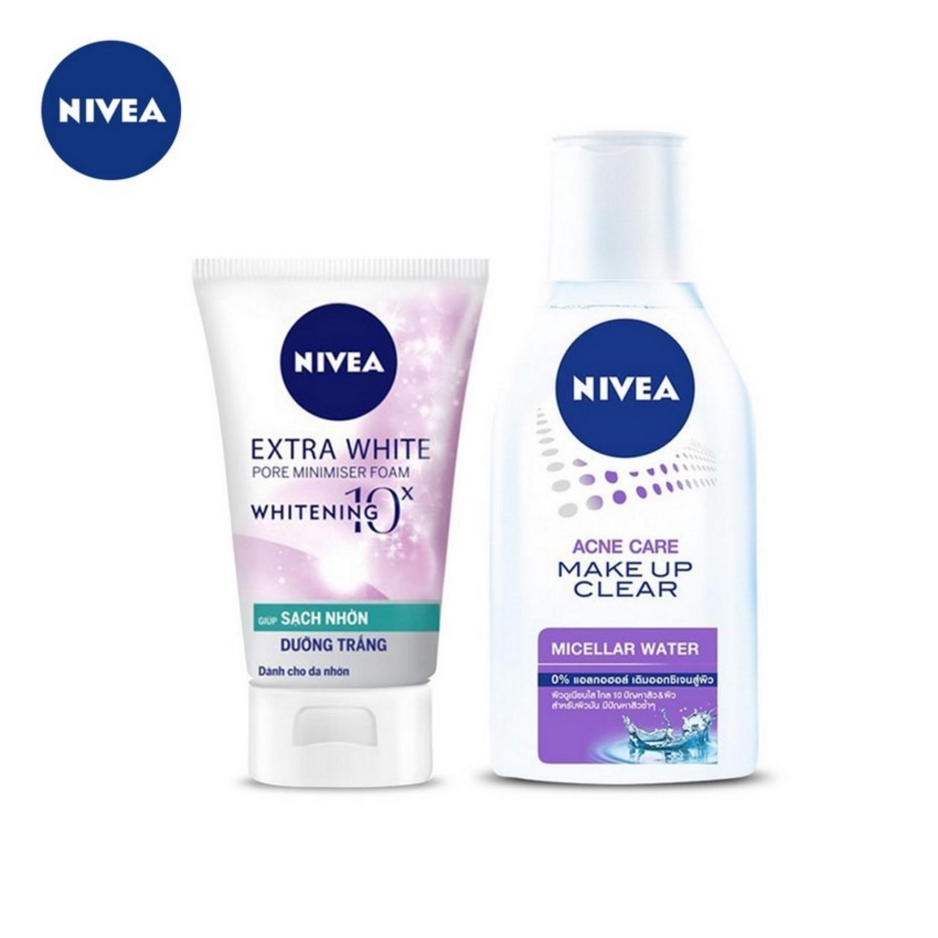 Nước Tẩy Trang Nivea Acne Care Make Up Clear Micellar Water 125ml & Sữa Rửa Mặt Ngừa Mụn Và Kiểm Soát Nhờn Nivea 50g