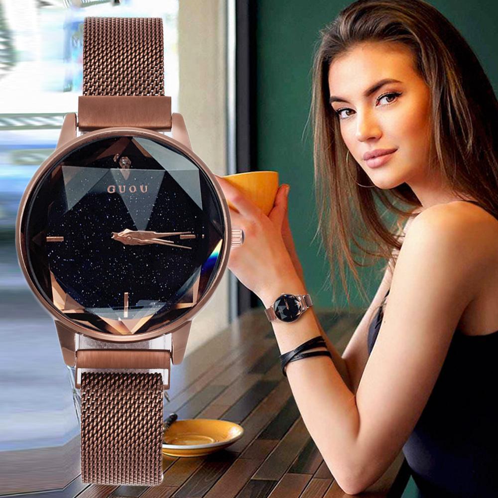 Đồng hồ nữ GUOU mặt khối 3D ánh nhũ dây thép lụa siêu nhẹ khóa từ độc đáo JS-G1509 bán chạy