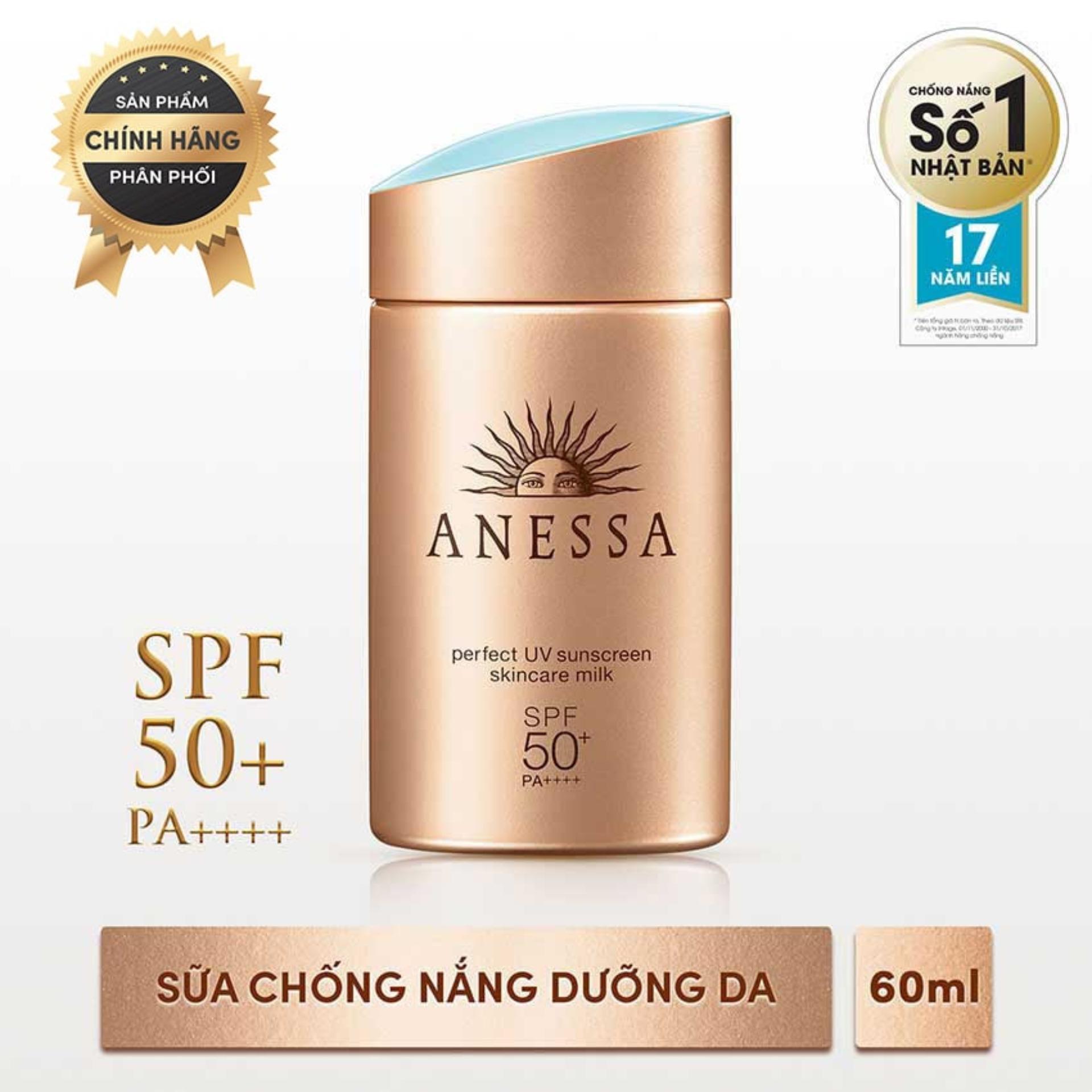 Sữa chống nắng kiềm dầu bảo vệ hoàn hảo không nhờn rít Anessa Perfect UV Sunscreen Skincare Milk - SPF 50+, PA++++ - 60ml