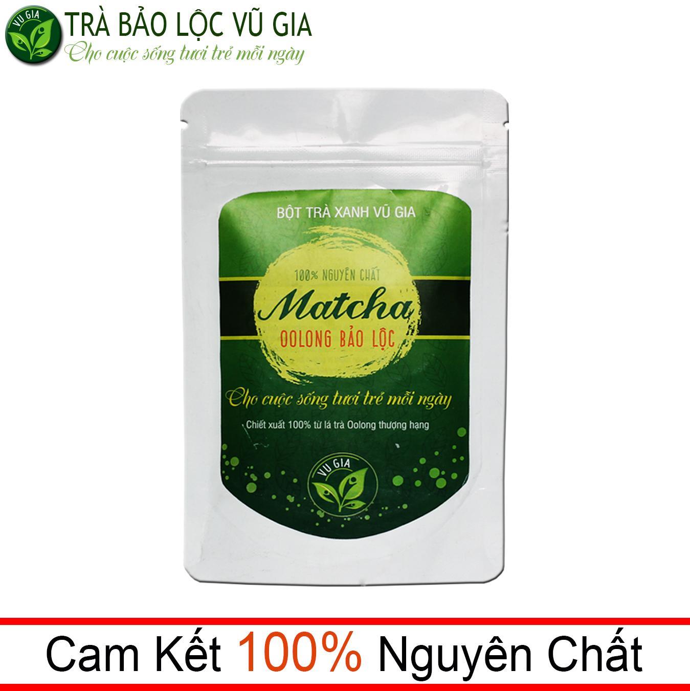 Matcha Oolong Nguyên Chất Bảo Lộc Vũ Gia ( 100g/ túi) - pha trà sữa, làm bánh, gia vị món ăn thanh nhiệt cơ thể và giảm cân an toàn