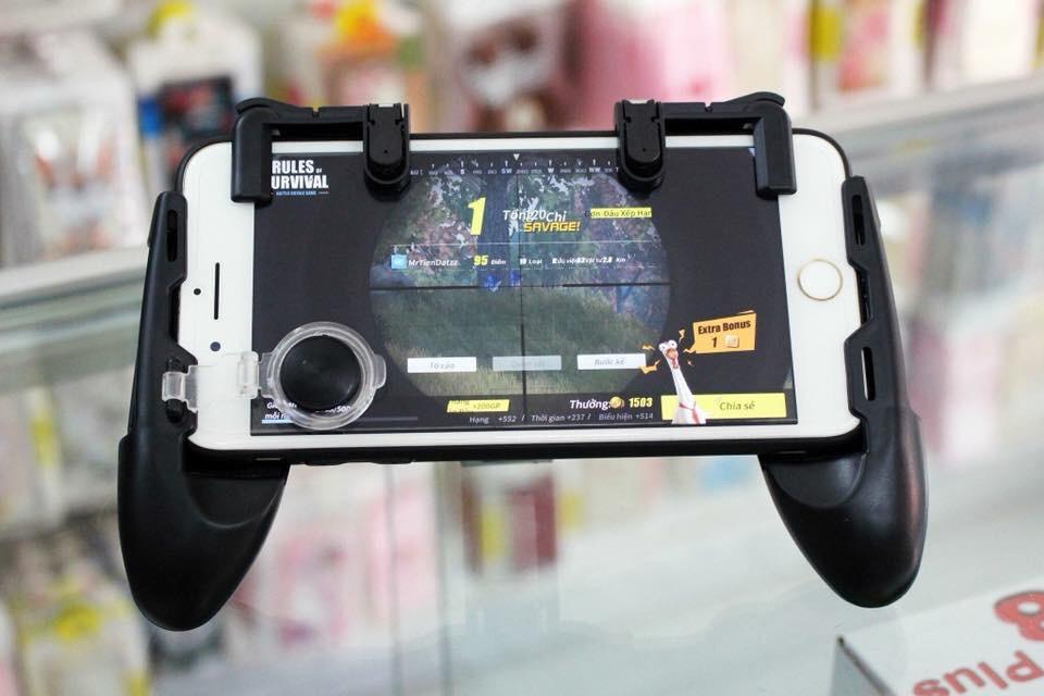 Hình ảnh Bộ tay cầm chơi game PUBG, LIÊN QUÂN MOBILE, ROS, CF, FIFA.. thông minh (tay cầm, 2 nút, 2 phím bên trên, khăn lau màn hình)