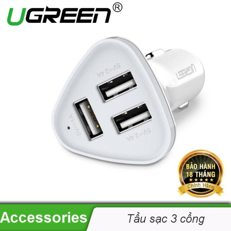Bộ sạc thông minh 3 cổng USB 2.0 trên ô tô UGREEN CD124 40285 - Hãng phân phối chính thức