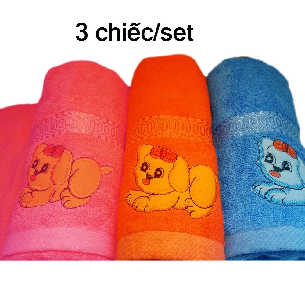 Combo 3 Khăn tắm thêu cao cấp cỡ lớn 120x60cm hàng Việt Nam xuất khẩu chất đẹp, mềm mịn, thấm hút tốt 100% cotton tự nhiên hình cún cute đáng yêu, món quà ý nghĩa cho mọi gia đình
