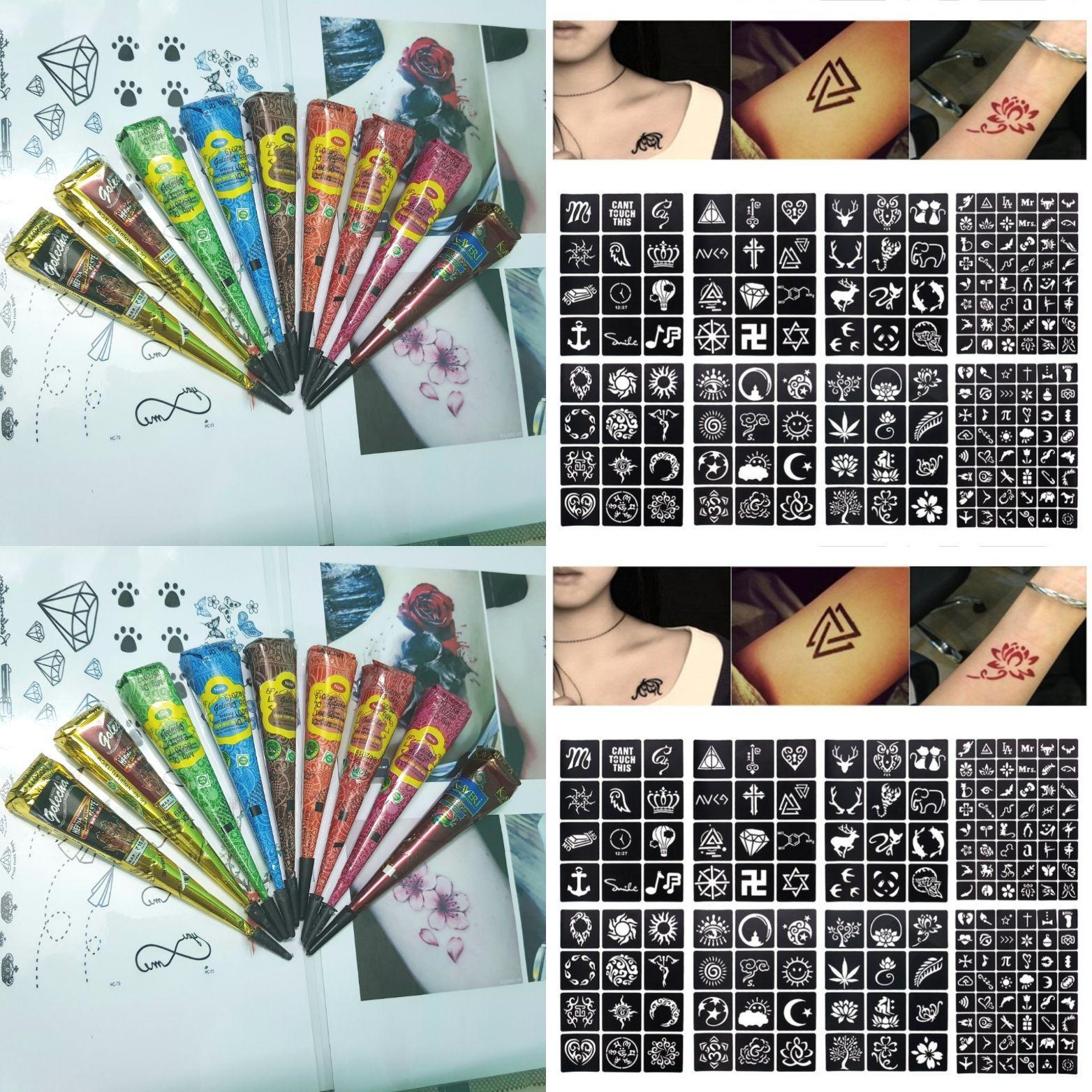 Hình ảnh Combo 1 cây bút vẽ henna Golecha và 12 tấm khuôn vẽ