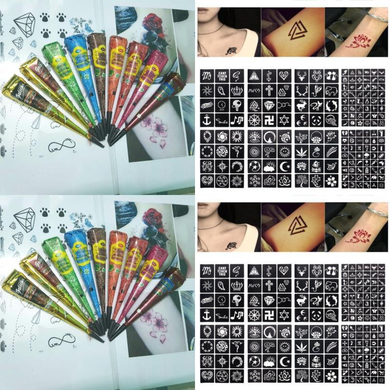 Combo 1 cây bút vẽ henna Golecha và 12 tấm khuôn vẽ cao cấp