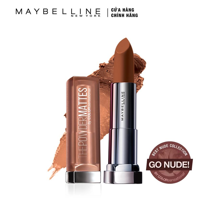 Hình ảnh Son lì siêu nhẹ môi Maybelline New York Powder Matte - Nude 11: Toasted Brown
