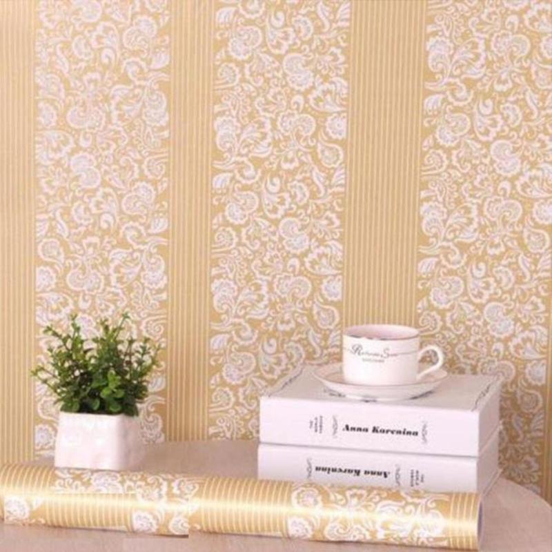 Bảng giá 5m vuông Giấy dán tường phong cách Hàn Quốc khổ rộng 45cm Hoa văn Đức màu vàng
