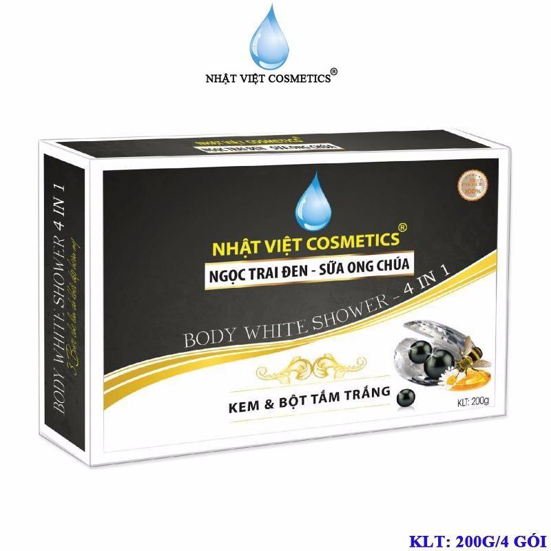 Mua Kem Va Bột Tắm Trắng Dưỡng Chất Ngọc Trai Đen Sữa Ong Chua Nhật Việt Cosmetics 4 Goi Nhật Việt Cosmetics