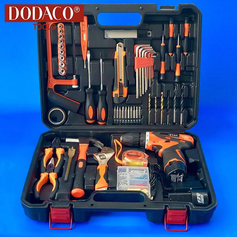 Bộ máy khoan vặn vít dùng pin 100 món DODACO DDC3204 ETOP 12V 19 x 19 x 5cm (Cam)