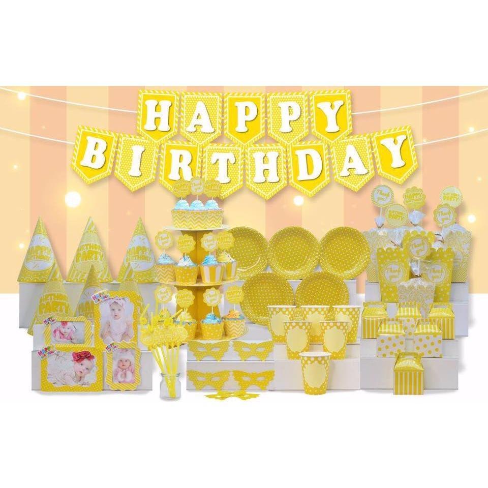 Hình ảnh set bàn tiệc sinh nhật chủ đề màu vàng