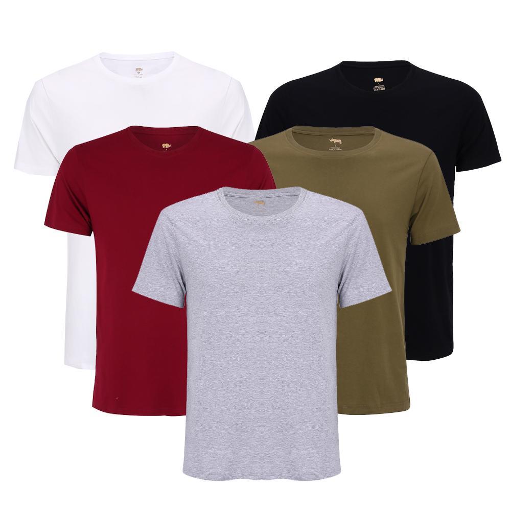 Hình ảnh Combo 5 áo thun nam body cổ tròn vải dày mịn thoáng mát phong cách hàn quốc ( đen/ trắng/ xám/ đỏ đô/ xanh rêu )