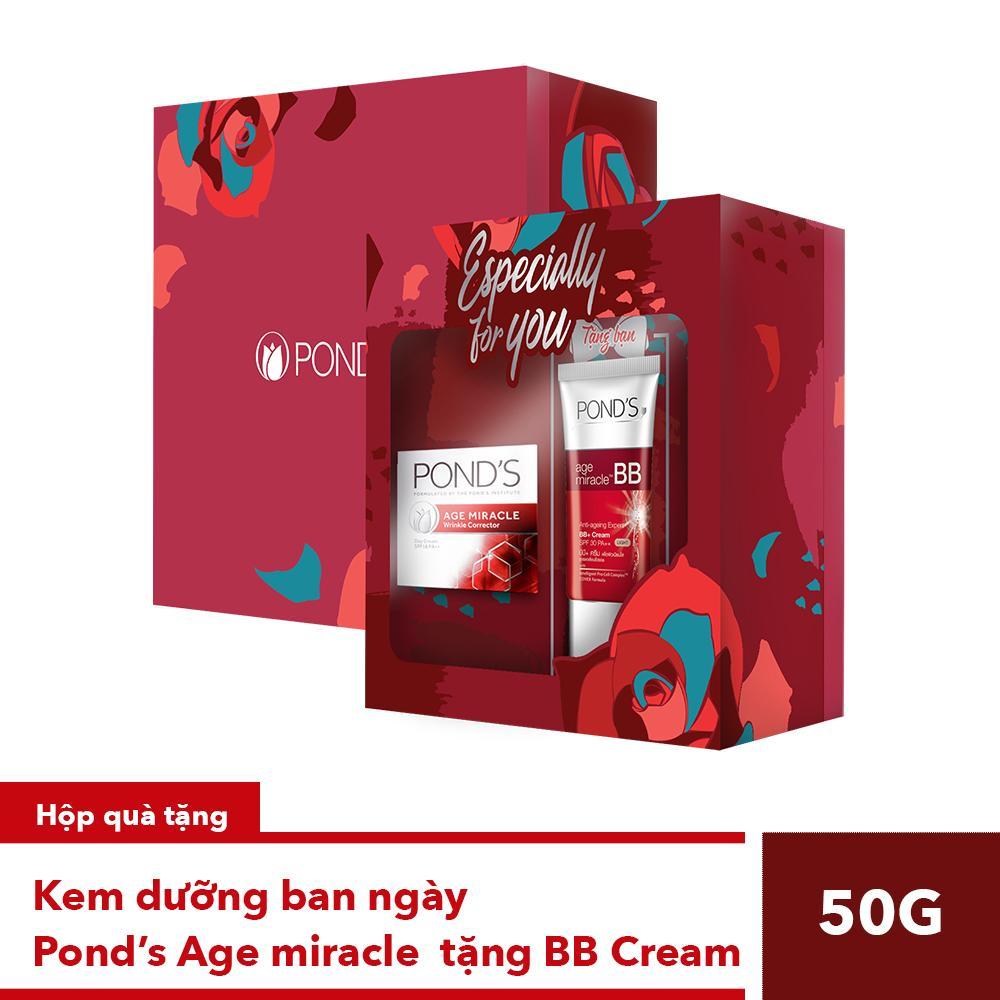 Hộp quà Kem dưỡng ban ngày Ponds Age Miracle 50g - TẶNG BB Cream 25g