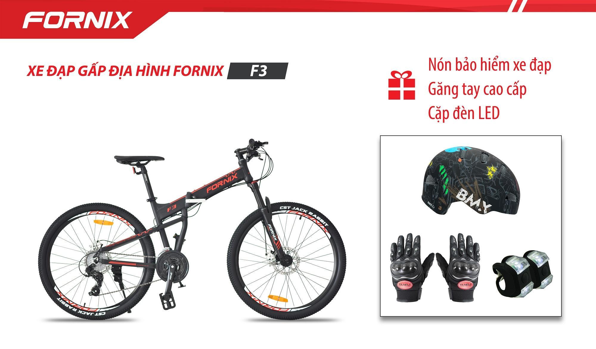 Xe đạp gấp địa hình thể thao Fornix F3 + (Gift) Găng tay, Đèn LED, Nón bảo hiểm A02NC1L