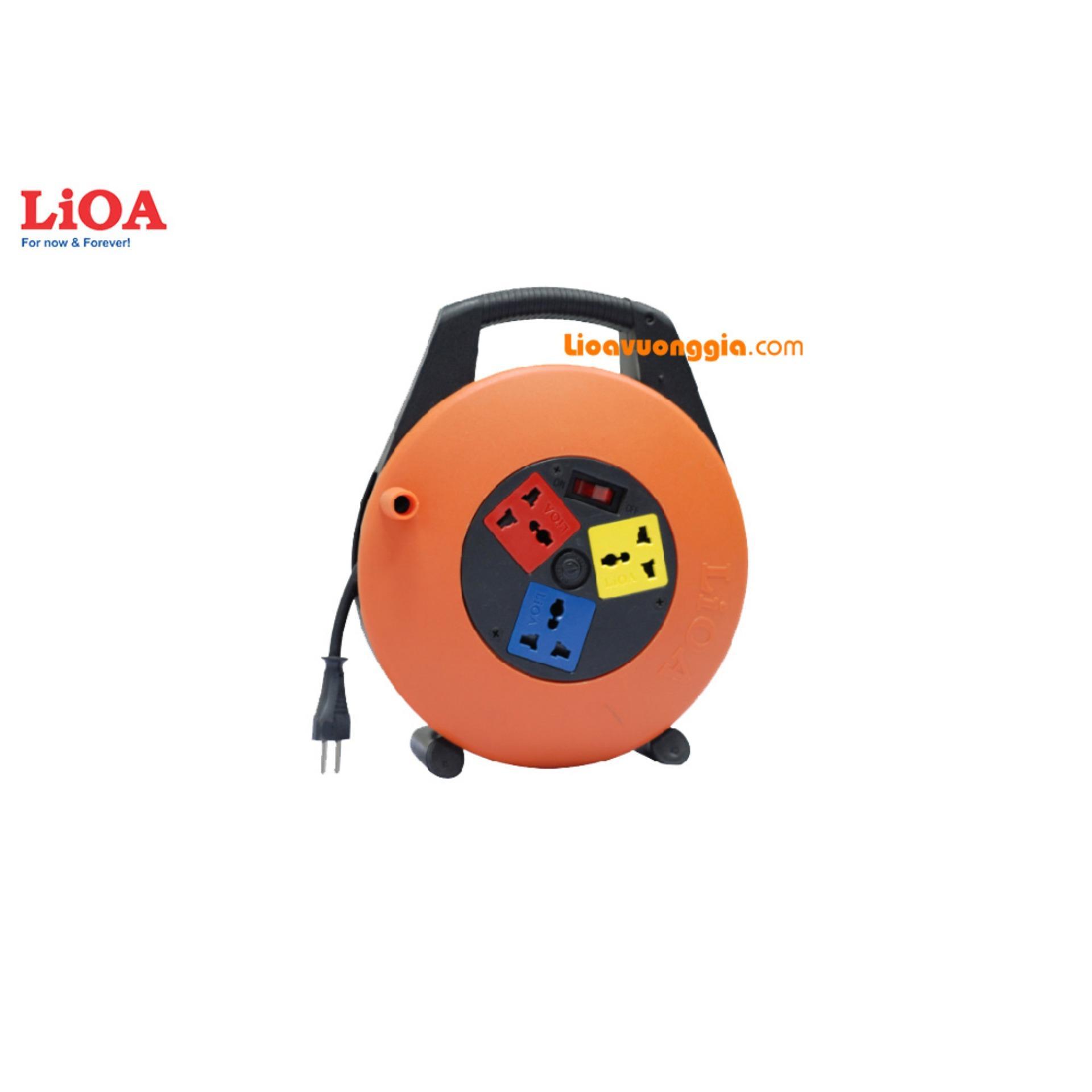 Ổ cắm kéo dài quay tay LIOA - Kiểu xách tay 15A 10m dây - XTD10-2-15A