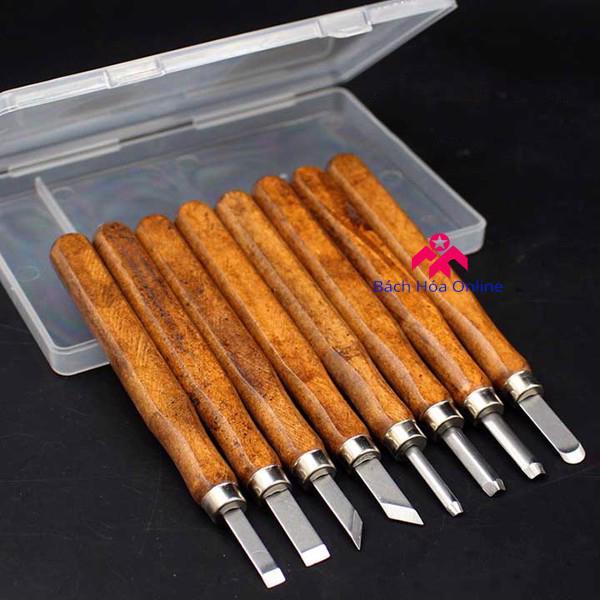 Bộ dao khắc đục tiện gỗ 8 món cao cấp V2