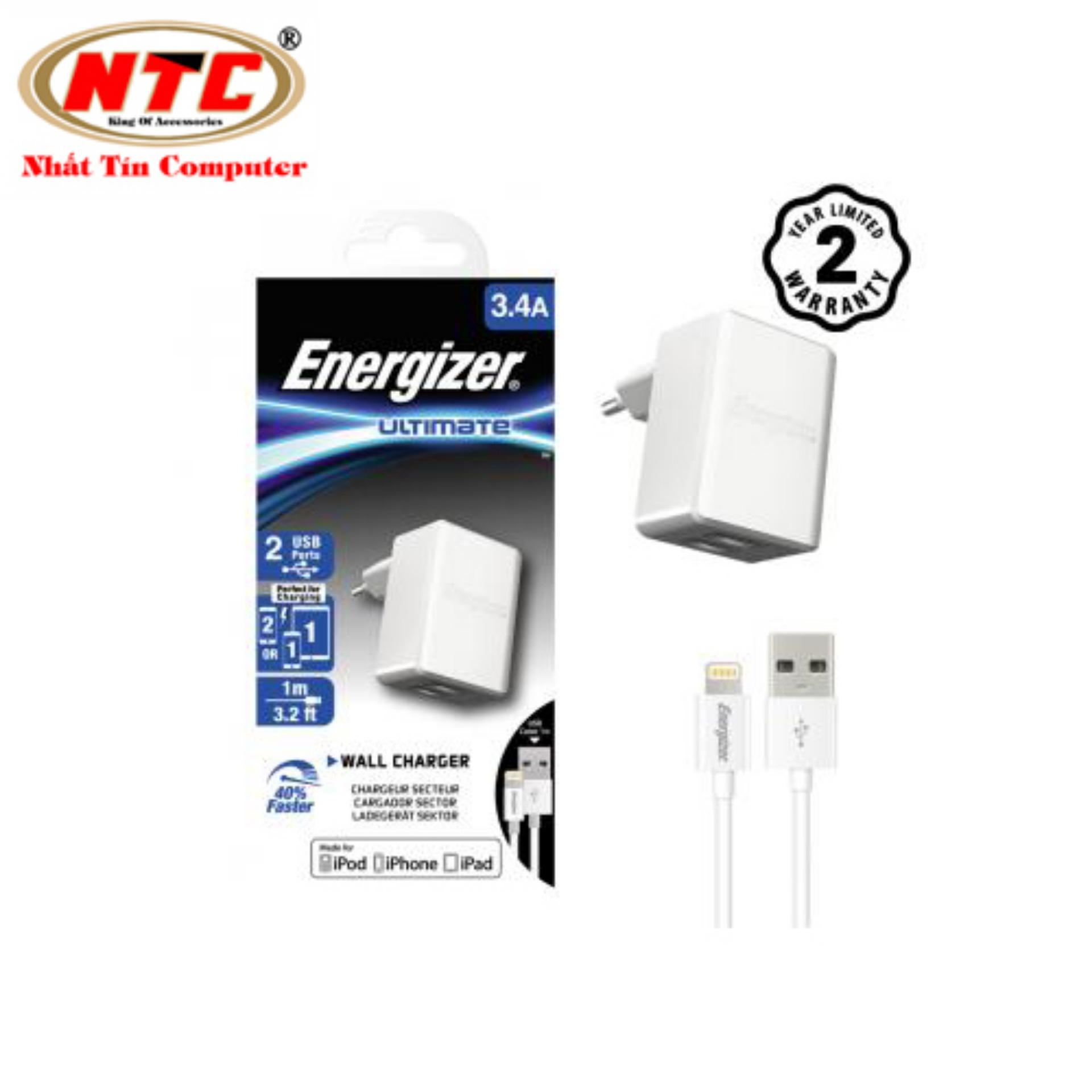Bộ cốc cáp sạc Lightning Energizer UL 3.4A 2 cổng USB ACA2CEUULI3 (Trắng) - Hãng phân phối chính thức