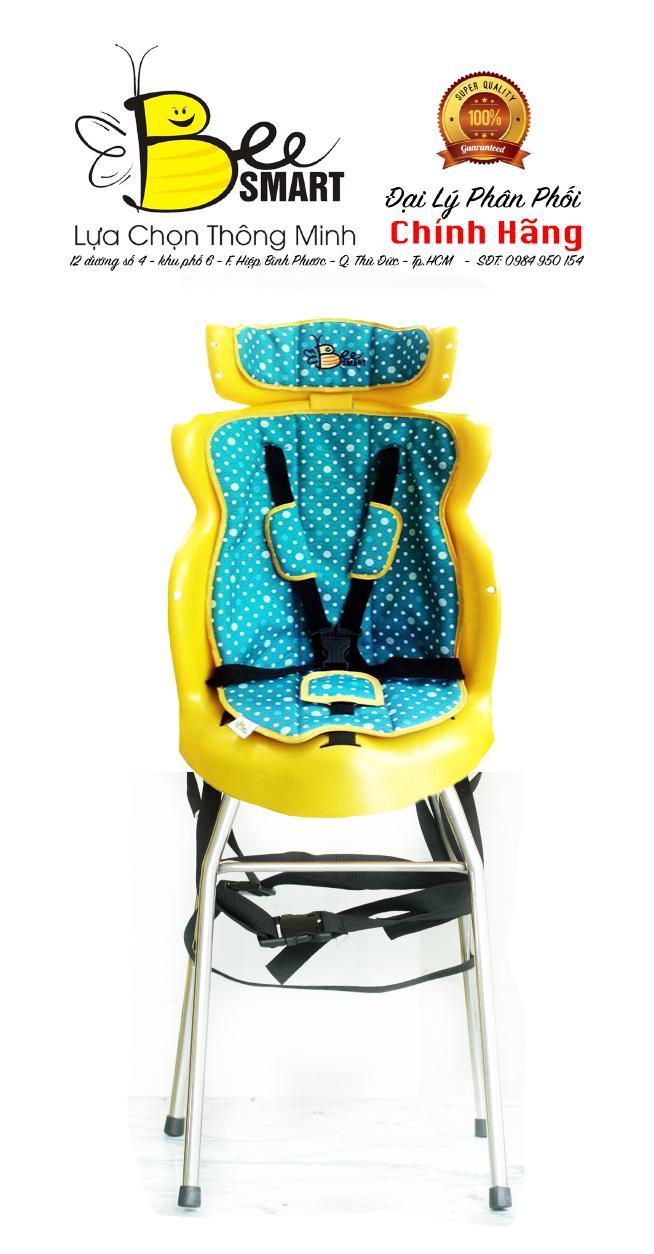 Ghế ngồi xe số lắp trước cho bé BeeSmart - X2 Xanh Bi (Tặng 1 khăn voan che cho bé)