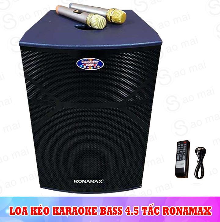Hình ảnh Loa kéo Ronamax MR15, loa karaoke thùng gỗ 4.5 tấc, công suất đỉnh 500W, kèm 2 micro
