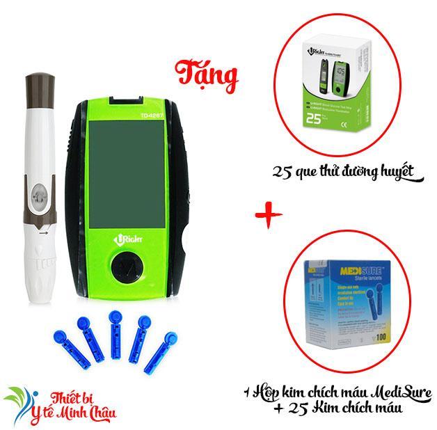 Máy đo đường huyết Uright TD4267 + Tặng kèm 1 hộp Que thử đường huyết Uright 25 que và 125 Kim chích máu MediSure bán chạy