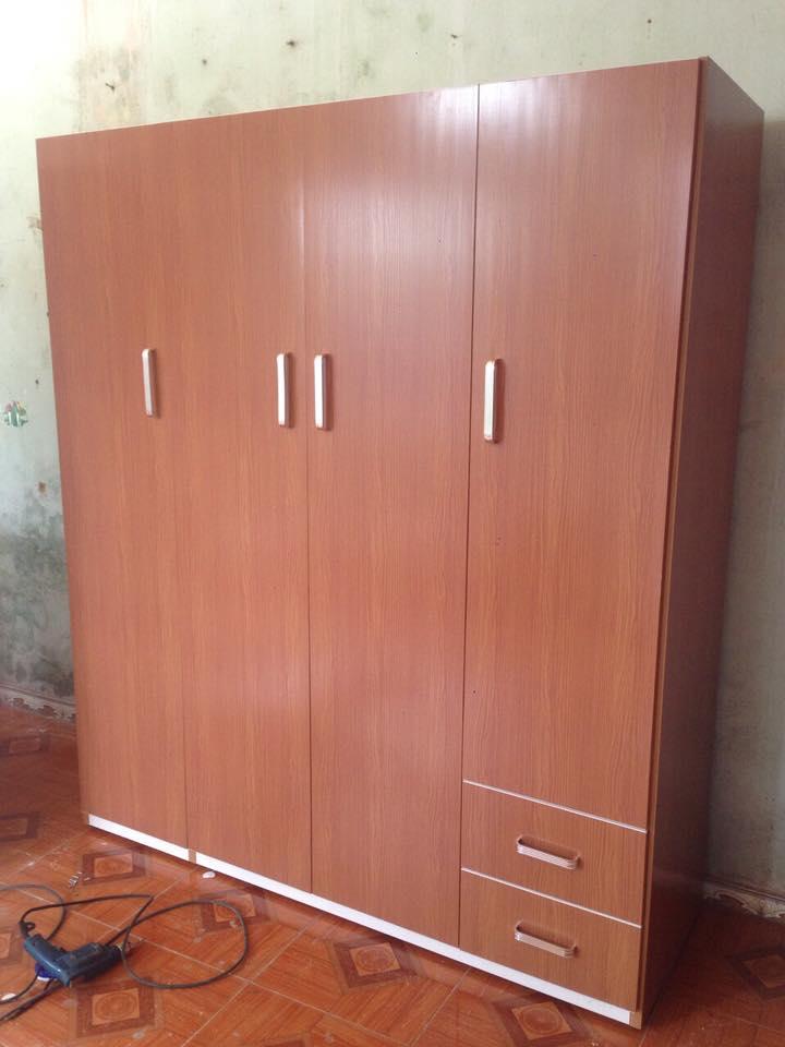 Tủ nhựa Đài Loan 4 buồng vân gỗ Hải Phòng dd-002