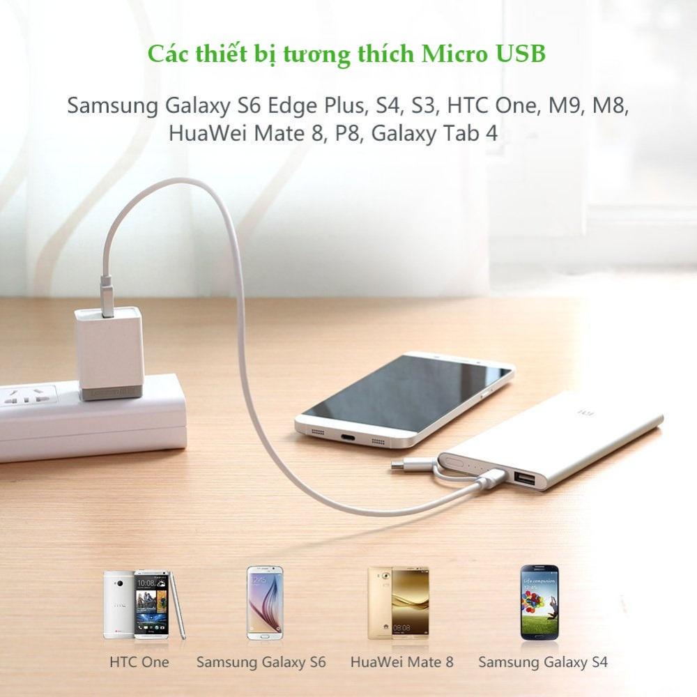 Dây sạc và truyền dữ liệu đa năng 2 trong 1 USB2.0 sang (Micro USB + đầu chuyển USB Type C) dài 0.25-2M UGREEN US177
